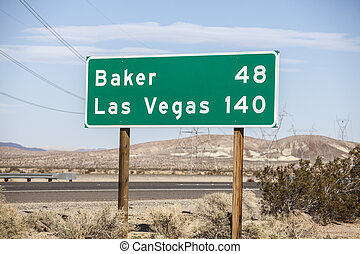 Las Vegas Highway Sign - Las Vegas 140 miles highway on I-15...