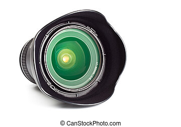 wide angle zoom lens with hood isolated on white background