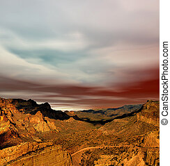 Sonora Desert Mountains - Sunset Sonora desert mountains in...