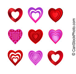 Heart Icons on white background