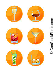 Alcoholic Drink Icons on white background