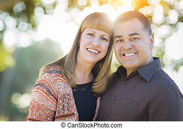 Young Mixed Race Couple Portrait Outdoors