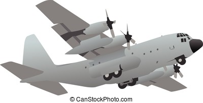 Military Transport Cargo Aircraft - Large military C-130...