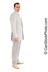 man in wedding suit, white background