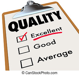 Quality Checklist Clipboard Excellent Rating Grade Review