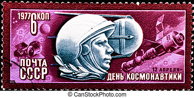 postage stamp celebrate Space Day - USSR - CIRCA 1977:...