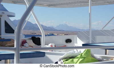 View from moored boat at landscape of Egypt - Travel. View...