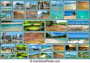 Mauritius landscapes collage - Mauritius pictures collage of...