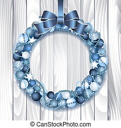 Christmas wreath decoration from blue and silver Christmas...