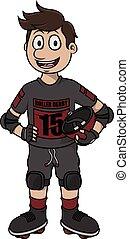 Roller derby vector cartoon illustration design