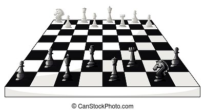 Boardgame of chess in black and white