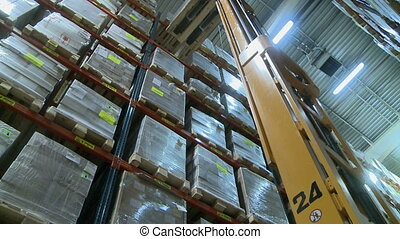 View of forklift lifts pallet in storage warehouse -...