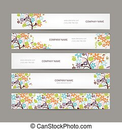 Set of horizontal banners with floral tree