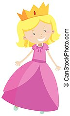 Little princess in pink dress illustration
