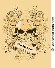 vintage t-shirt design - vector illustration of a skull on...