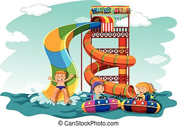 Boys and girl riding down the water slide illustration