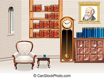 Living room with bookshelves and furnitures illustration
