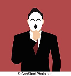 Businessman wearing a laughing mask vector illustration