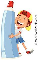 Boy holding large toothpaste illustration