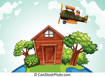 Airplane flying over a wooden house illustration