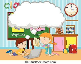 Boy and girl working in group illustration