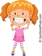 Little girl with braces illustration