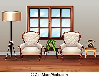 Living room with luxury armchairs