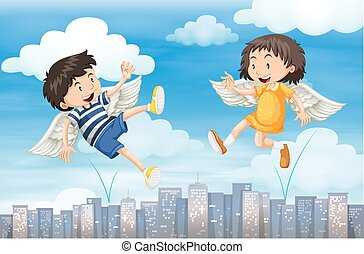 Boy and girl with wings flying in the sky