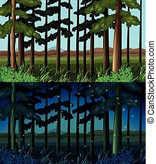 Forest scene at day time and night time illustration