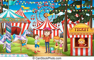 People having fun at the circus