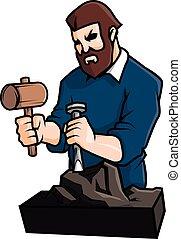 Sculpting man vector illustration design
