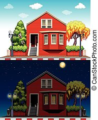 Single house at daytime and nighttime illustration