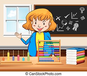Female teacher teaching in the classroom illustration
