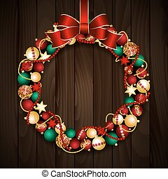 Christmas wreath decoration from red and gold Christmas...