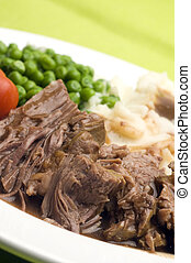 sliced pot roast dinner - sliced pot roast beef dinner with...