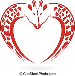Giraffes in love heart tattoo logo vector