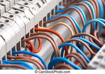 Electrical wires - Closeup of electrical wires in switchgear...