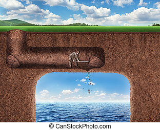 Businessman digs a tunnel deep into the ground to the sea