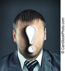 Businessman with exclamatory mark - Portrait of faceless...