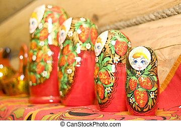 Set of nested dolls on the shelf