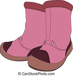 Girl boots on white background