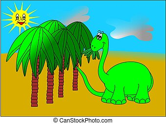 Dinosaur and palm trees - dinosaur palm sun trees green...