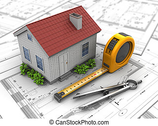 house plan - 3d illustration of house model over blueprints
