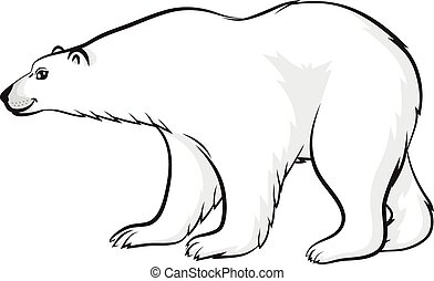 Cartoon polar bear - Vector illustrations of contour cartoon...