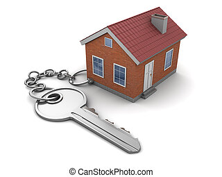home keychain - 3d illustration of house keychain, over...