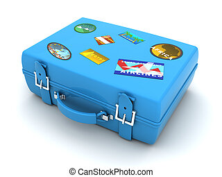 blue travel case - 3d illustration of blue case with travel...