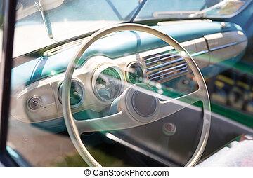 Rudder of vintage car close up