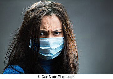 Women weared gauze bandage in studio