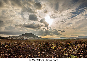 Tabor Mountain and Jezreel Valley in Galilee, Israel -...