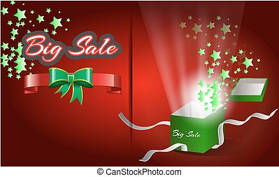 The big sale with gift box opening vector poster.
